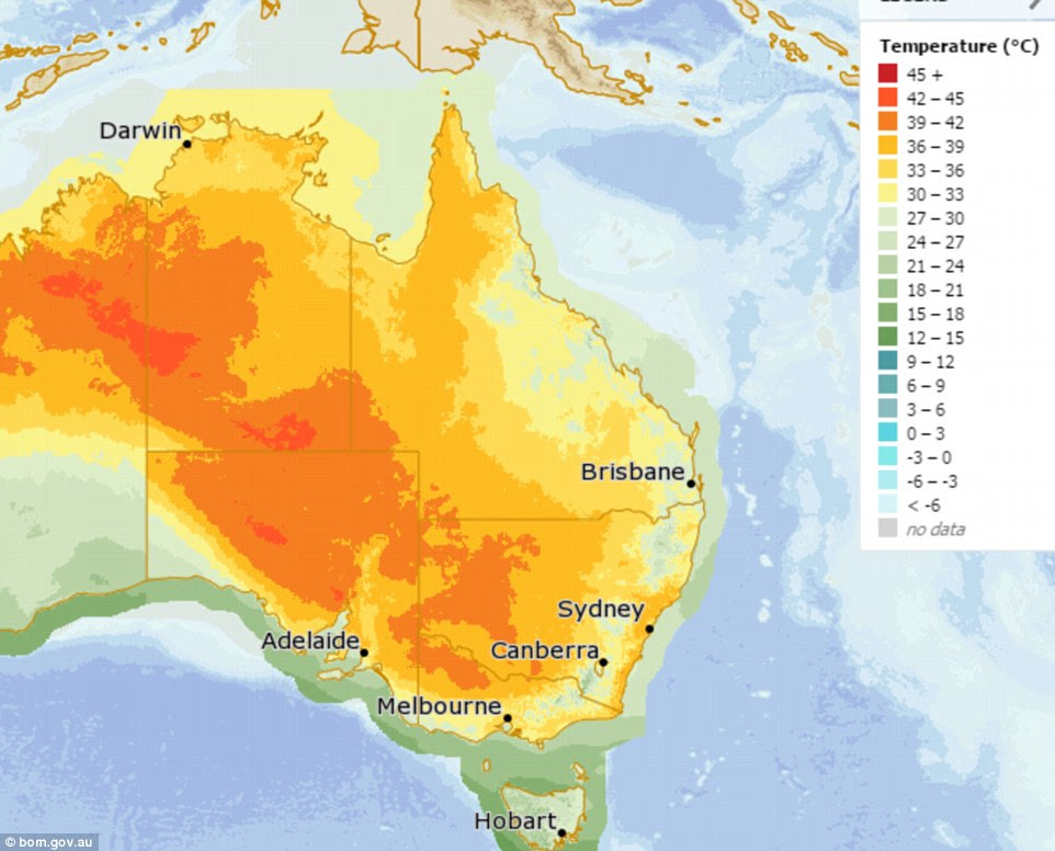 A hot air mass moving across Australia's south-east will cause the mercury to hit 34 in parts of the country on Tuesday (pictured)
