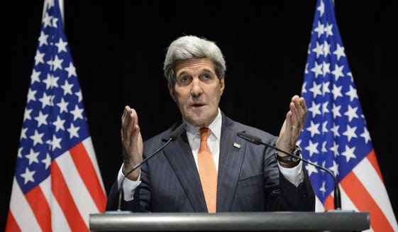 U.S. Secretary of State John Kerry speaks during a press conference after bilateral meetings with Iranian Foreign Minister Mohammad Javad Zarif  about  Iran's nuclear program ,  in Lausanne, Switzerland, at the Olympic Museum, Saturday, March 21, 2015.  (AP Photo/Keystone,Laurent Gillieron)