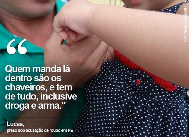 Lucas foi mantido em uma cela com outros 80 homens no Complexo do Curado, sendo obrigado a dormir sentado (Foto: Penélope Araújo/G1)