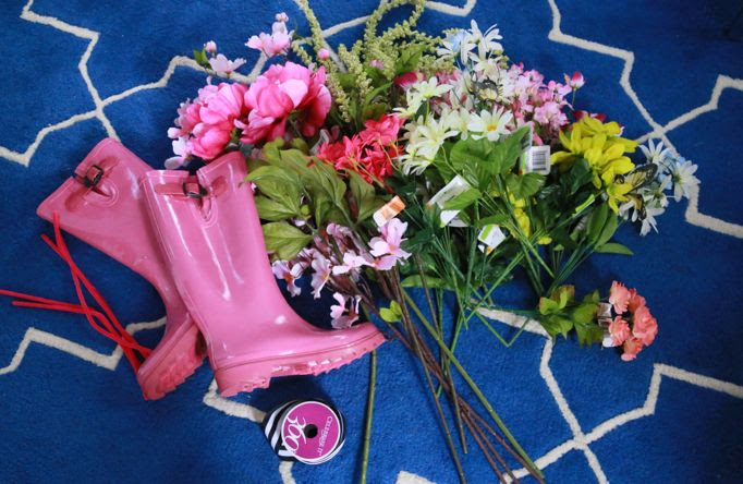 Michaels Makers Spring Florals Baby Shower Boot Swag Aunt Peaches