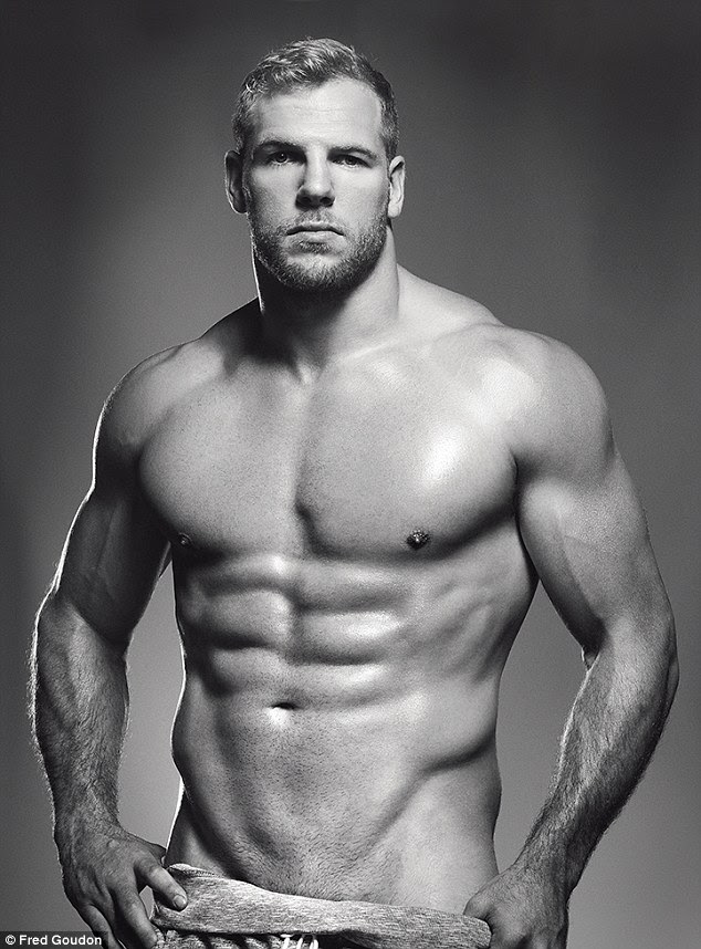 London Wasps co-captain James Haskell, 30, from Berkshire, who played for Stade Francais from 2009 to 2011, showed off his six pack by posing in a pair of rolled-down tracksuit bottoms