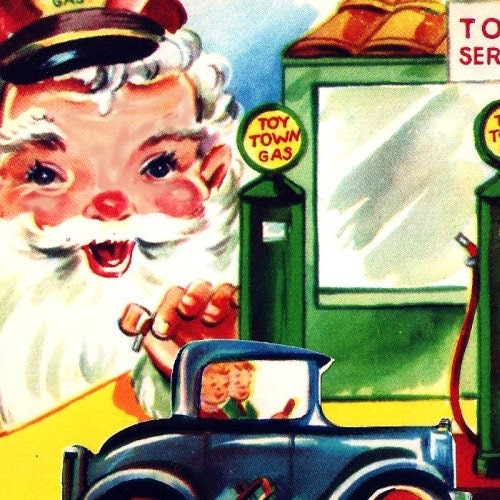 Vintage Christmas Card Santa Elves Toy Service Station