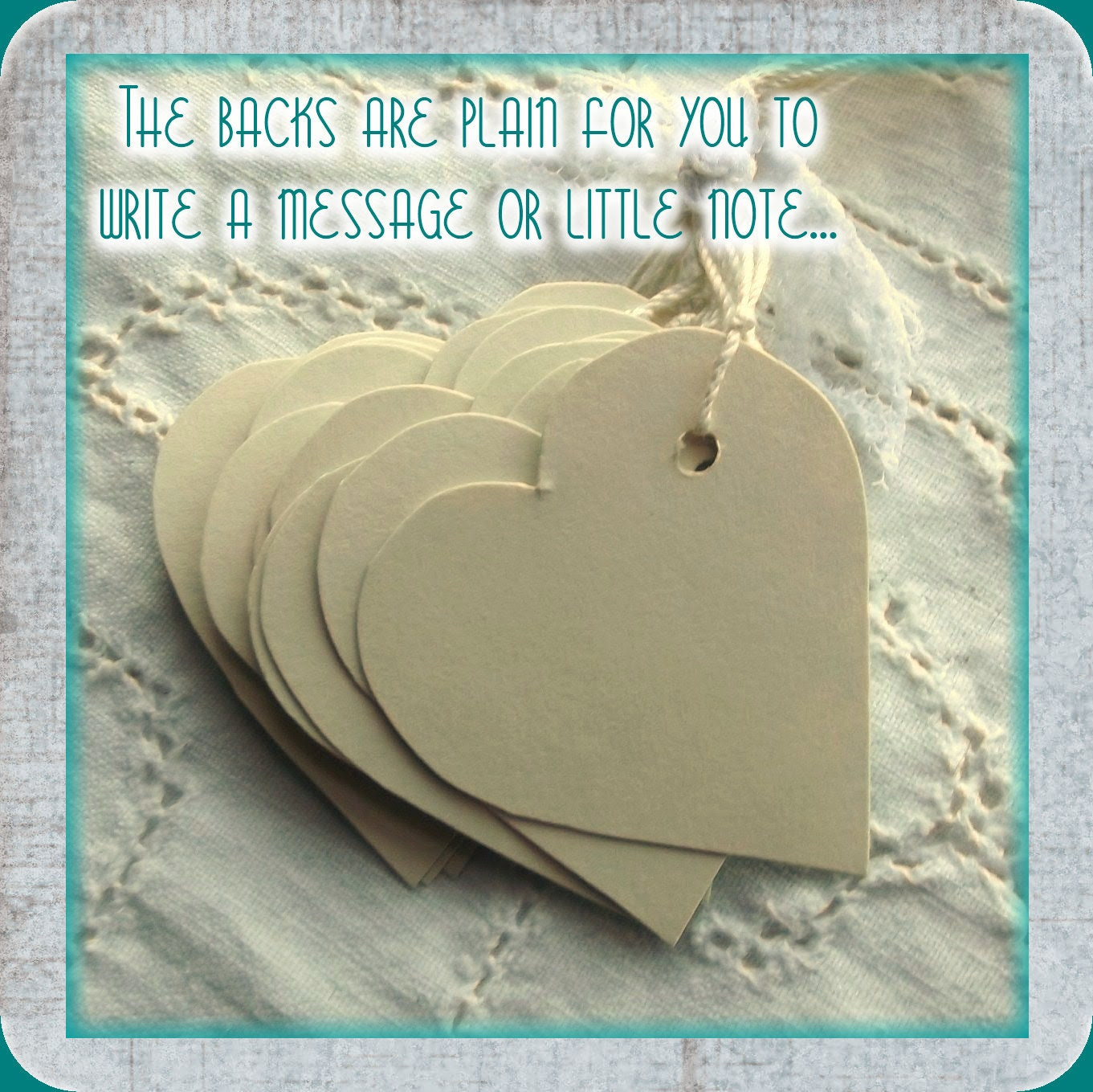 Teal Floral Heart Tags - Stamped, Shabby Chic, Cream Twine