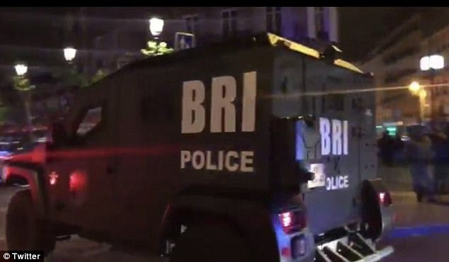 Police vehicles were described as 'driving dramatically' around the station as officers arrived at the scene. Pictured is a Research and Intervention Brigade (BRI) vehicle, part of a special French police force