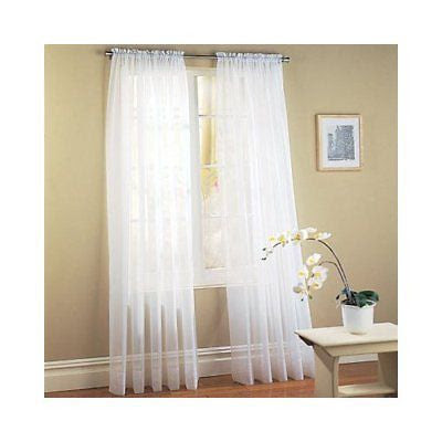 Set Of 2 Sheer Voile Curtains 63 Long White Browns Linens And