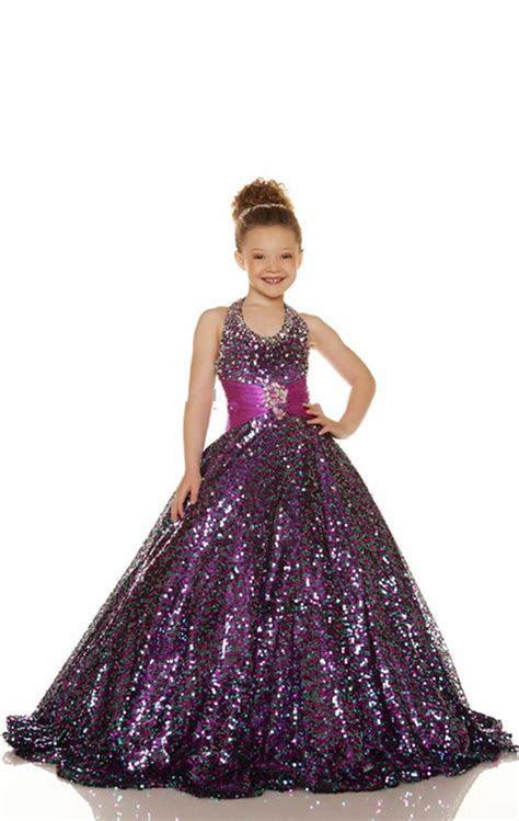 2015 Cheap Gold Purple Flower Girl Dress Beaded Halter