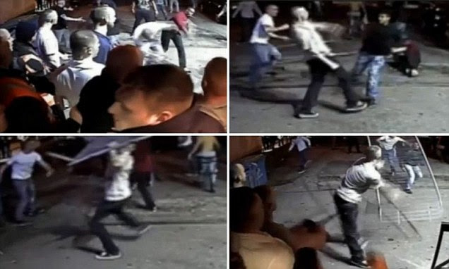 Eleven yobs have been jailed after starting a huge street brawl outside a club in Manchester