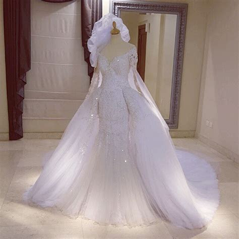 Long Sleeves Lace Mermaid Wedding Dresses Removable Skirt