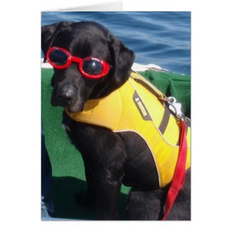 Tucker in Goggles Conservation Canines Labrador Greeting Card
