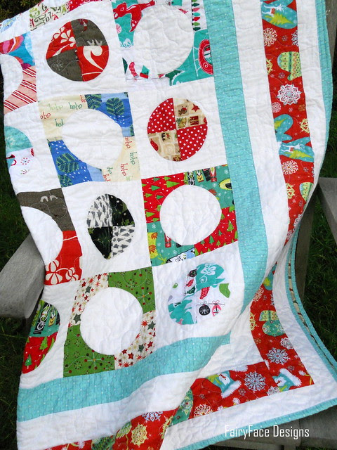 Christmas quilt on chair