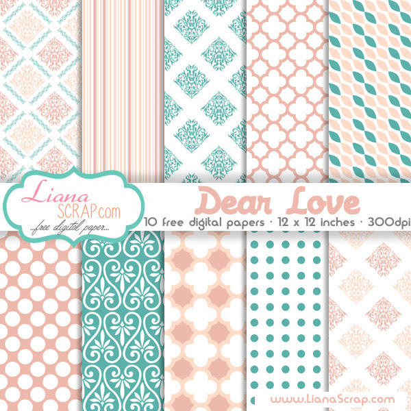 Free digital paper pack Dear Love Set by LianaScrap