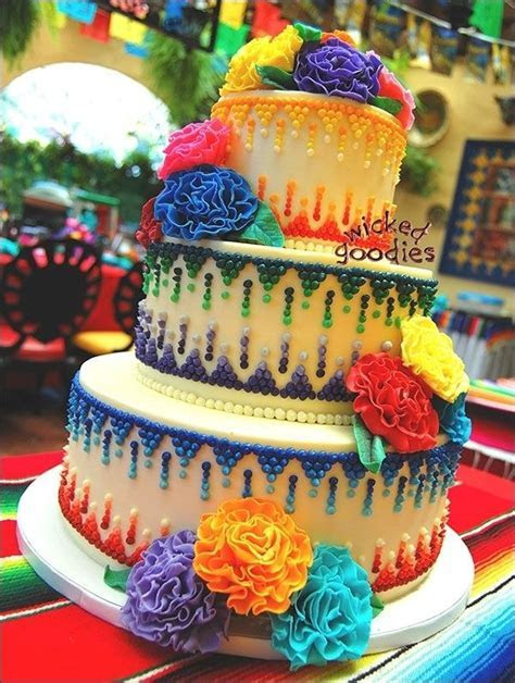 Mexican theme wedding cake with piped buttercream and