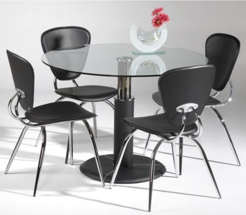 Chintaly Gladys 5 pc. Round Glass Dining Table Set - contemporary ...