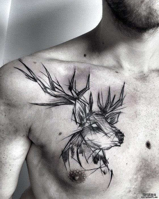 Chest Deer Tattoo With Sketch Design