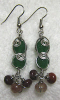 Wire wrapped Green Agate Earring