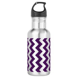 Purple and White Zigzag 18oz Water Bottle