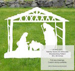 Christmas Nativity Scene 2D Yard Art Woodworking Pattern - fee plans from WoodworkersWorkshop® Online Store - Christmas nativity scenes,stable,manger,baby Jesus,Mary,Joseph,yard art,painting wood crafts,scrollsawing patterns,drawings,plywood,plywoodworking plans,woodworkers projects,workshop blueprints