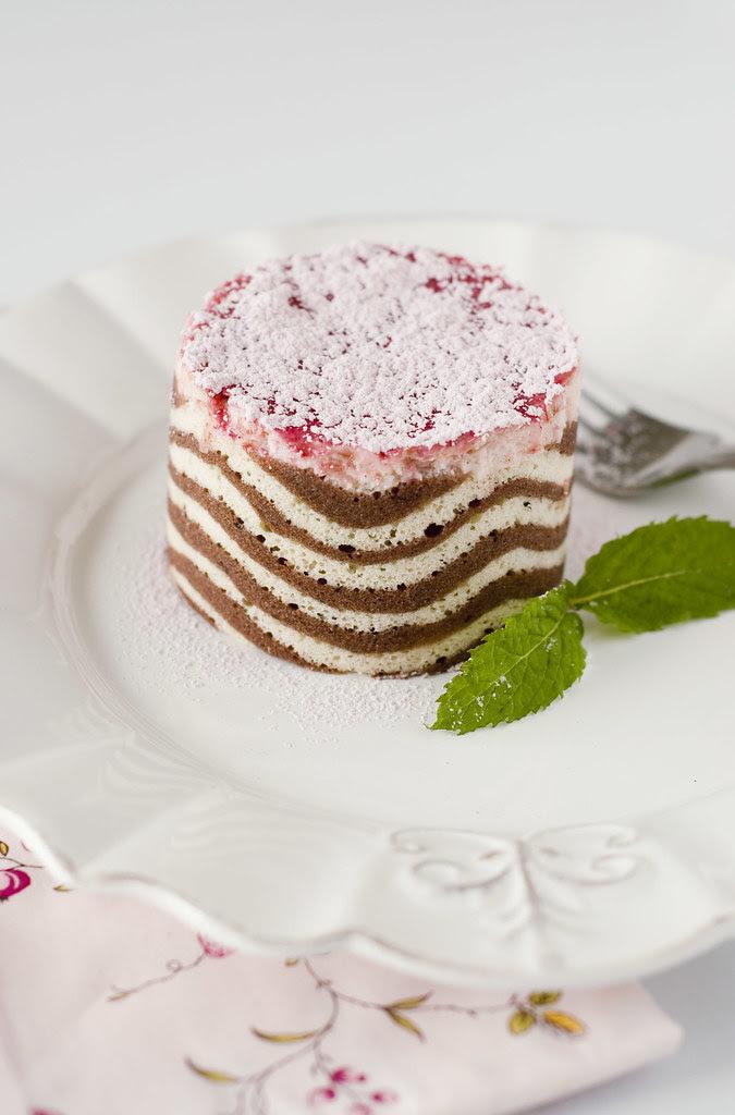 Lemon Rhubarb Mascarpone Mousse Cake - wavy