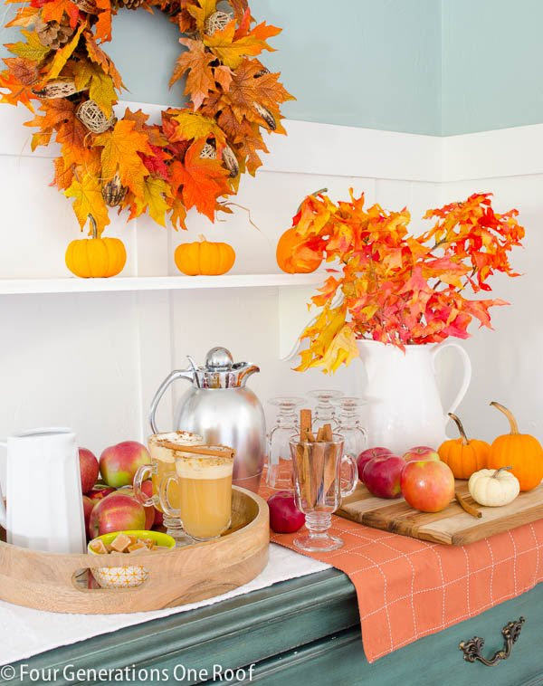 Apple Cider Bar from Four Generations Under One Roof....great entertaining idea for fall! | Friday Favorites at www.andersonandgrant.com