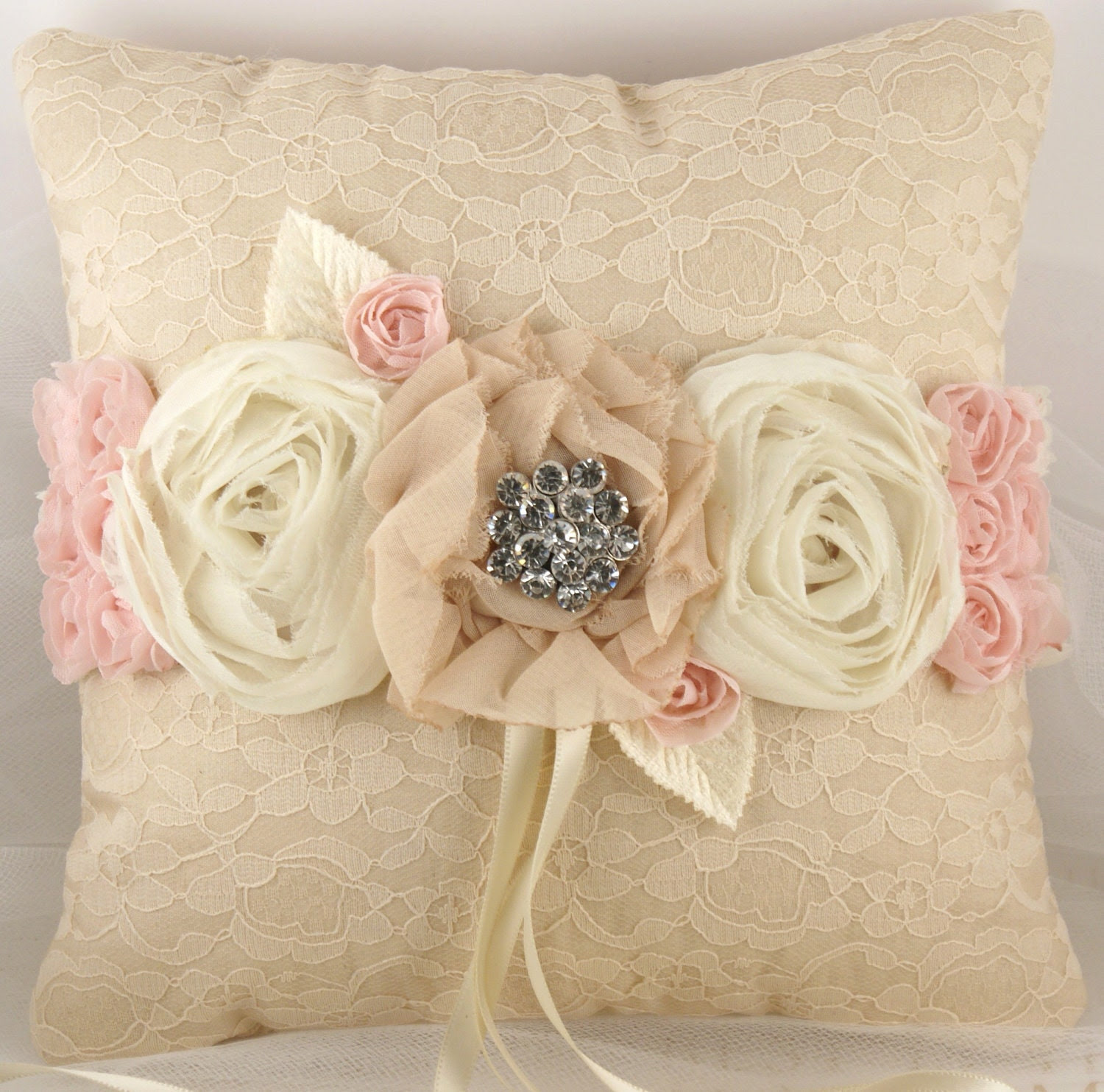Bridal Ring Bearer Pillow in Cream and Blush Pink with Chiffon Flowers, Lace and Vintage Brooch- Vintage Bride