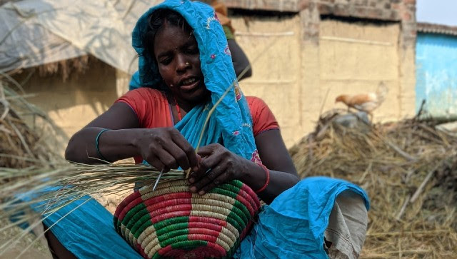 A daily wage labourer from Suryapur Bakiya village near Bettiah weaves a basket during her lunch break from carrying bricks at the nearby brick kiln. Devparna Acharya