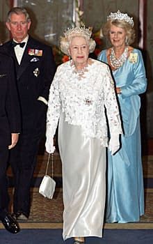 Queen Elizabeth, Prince Charles and Camilla, the Duchess of Cornwall, are seen before the Queen's Banquet for the Commonwealths Heads of Government in Kampala, Uganda on Nov. 23, 2007.