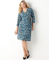 Charter Club Plus Size Dress, Three Quarter Sleeve Printed Wrap