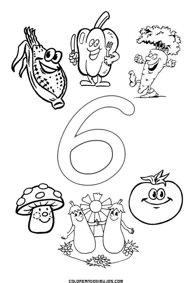 Número 6 Y 6 Hortalizas Para Colorear