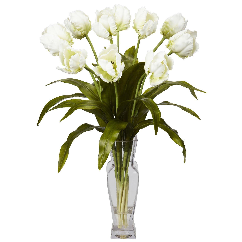Tulips w\/Vase Silk Flower Arrangement White