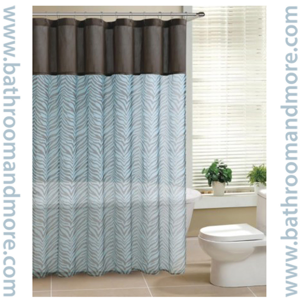 Teal and Brown Sheer Zebra Print Fabric Shower Curtain - Bathroom ...