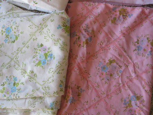Before and After Vintage Sheet Dyed Pink