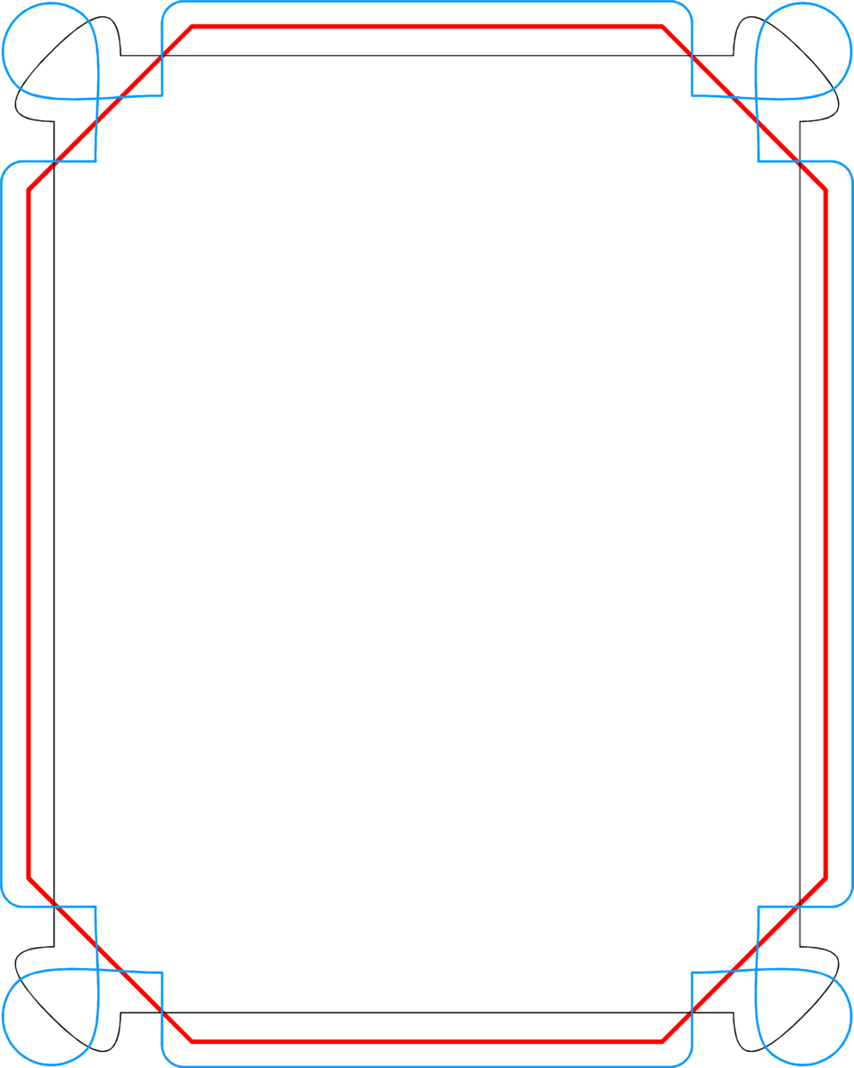 Border Free Stock Photo Illustration Of A Blank Blue And Red