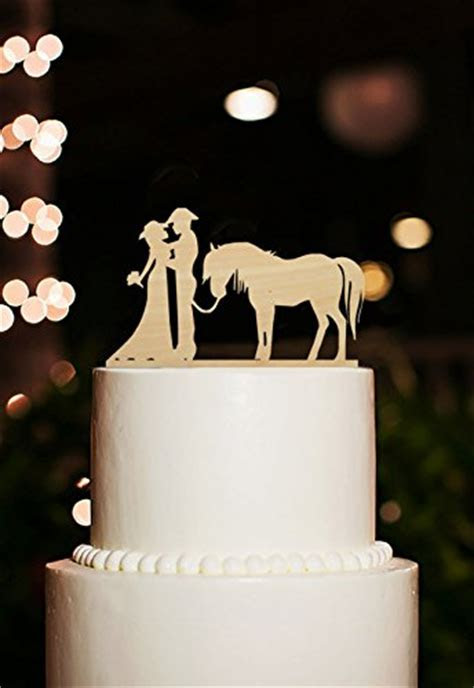 Silhouette Cake Topper Cowboy Bride and Groom Wedding Cake