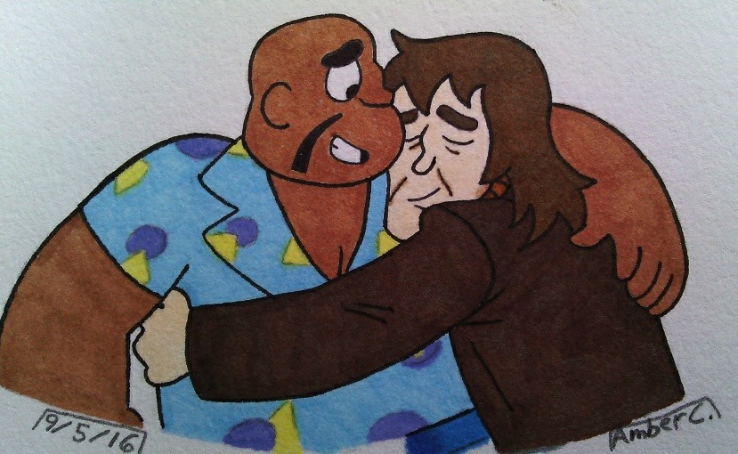 SU. Old comedian partners, Harold Smiley and Quentin Frowney. Screen cap redraw.