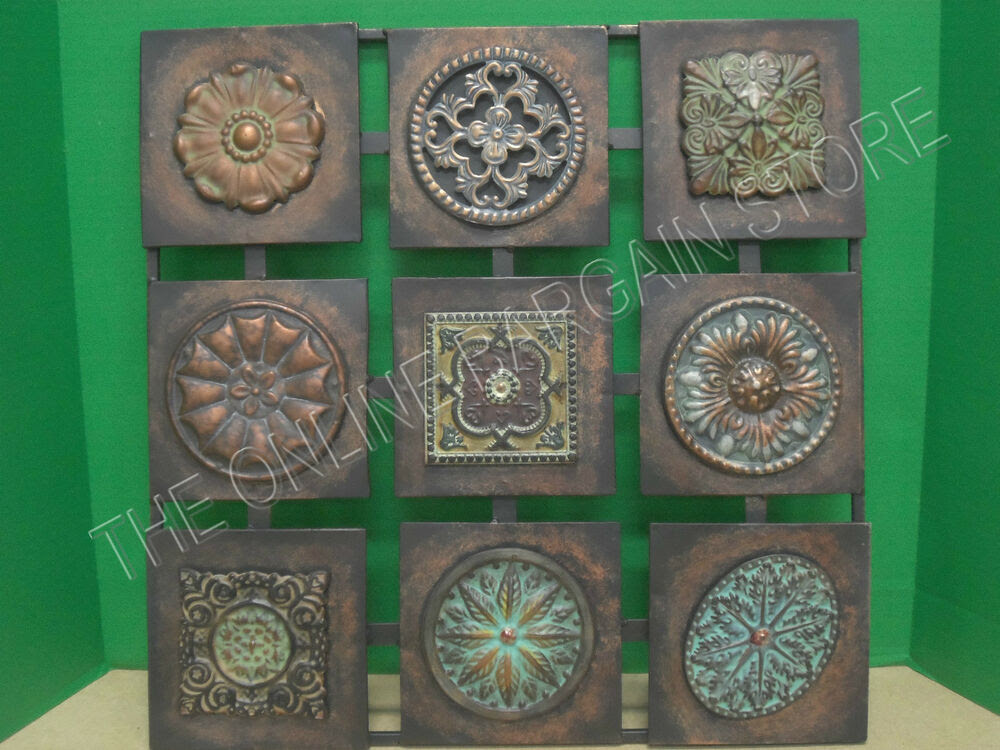 Square Metal Wall Hanging Home Accent Decor Art Floral ...