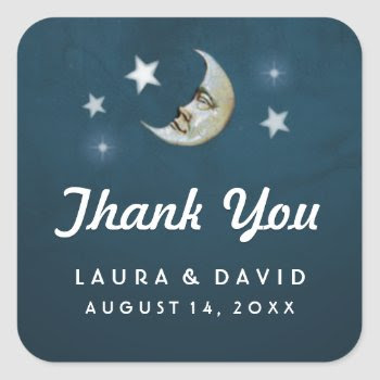 Teal Gold & White Moon & Stars Wedding Thank You Square Sticker by juliea2010 at Zazzle