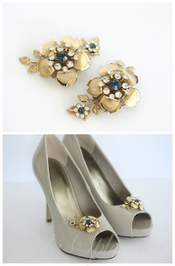 Gold Bridal Shoe Clips Montana Blue Crystal Sapphire Flower and Leaves Wedding Shoe Clips LISSE