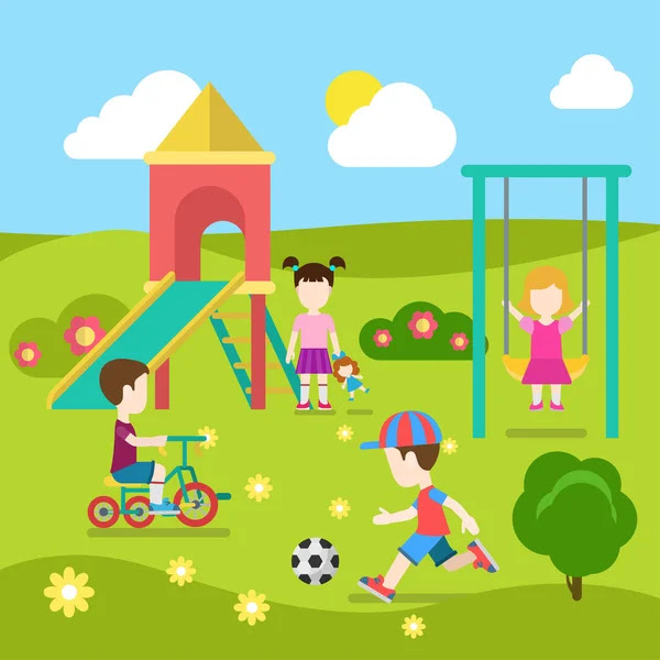 depositphotos_83141856 stock illustration playground happy children play