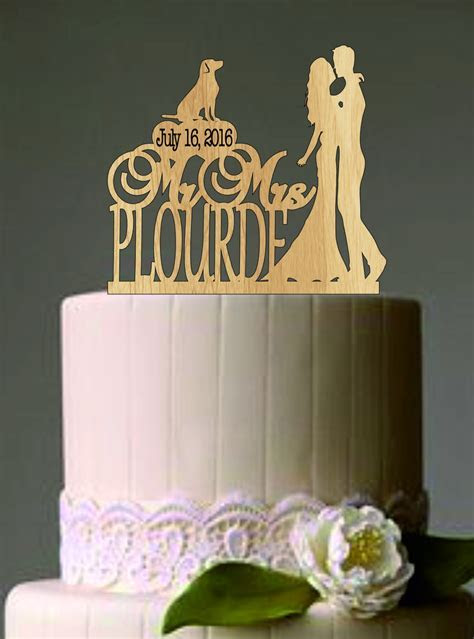 Rustic Wedding Cake Topper Personalized Cake Topper Funny