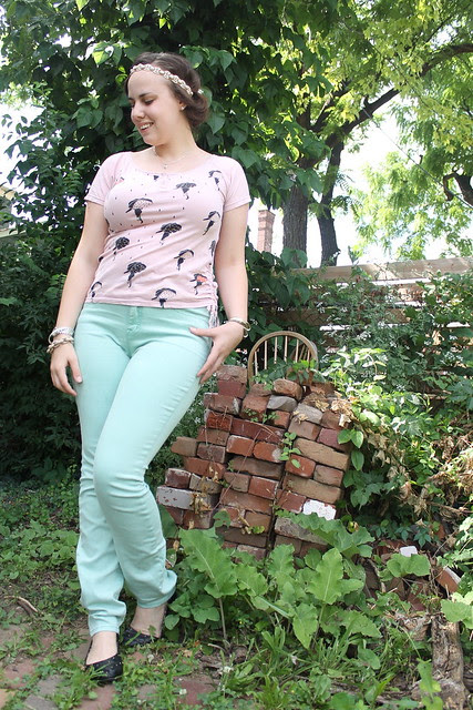 Pastel palette outfit: Mint BDG jeans, rainy day shirt, beaded headband, quilted flats