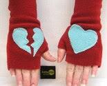 Rust and Blue Broken Heart Adult Fingerless Gloves
