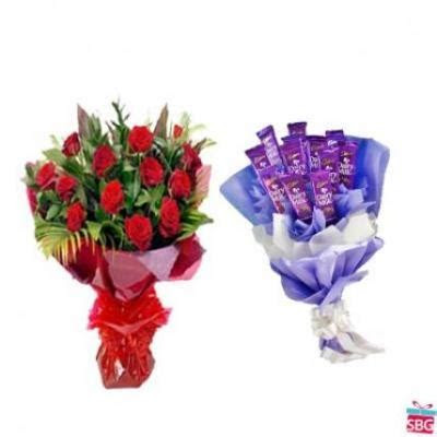 Send Red Roses With Dairy Milk Bouquet online in India on