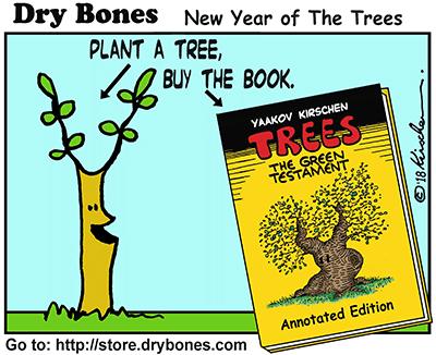 Dry Bones cartoon, Trees, Tu Bi Shvat, New Year of The Trees,