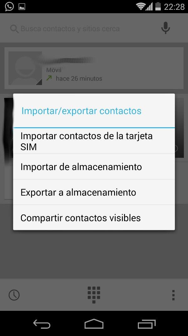 exportar contactos almacenamiento