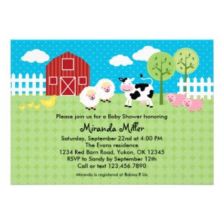 Barn Animals Baby Shower Invitation