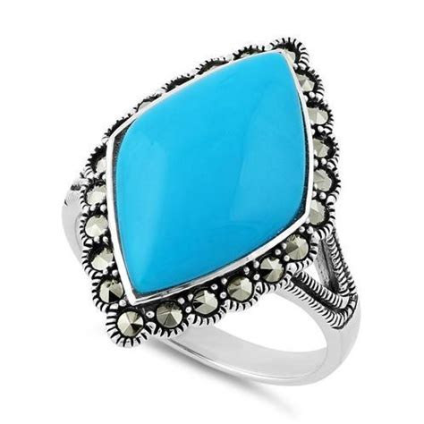Sterling Silver Simulated Turquoise Diamond Shape