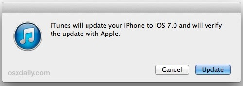 Update to iOS 7 with iTunes manually