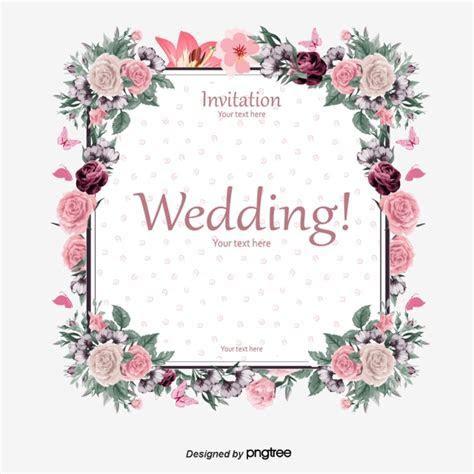 Elegant Floral Border Wedding Invitation Card Vector
