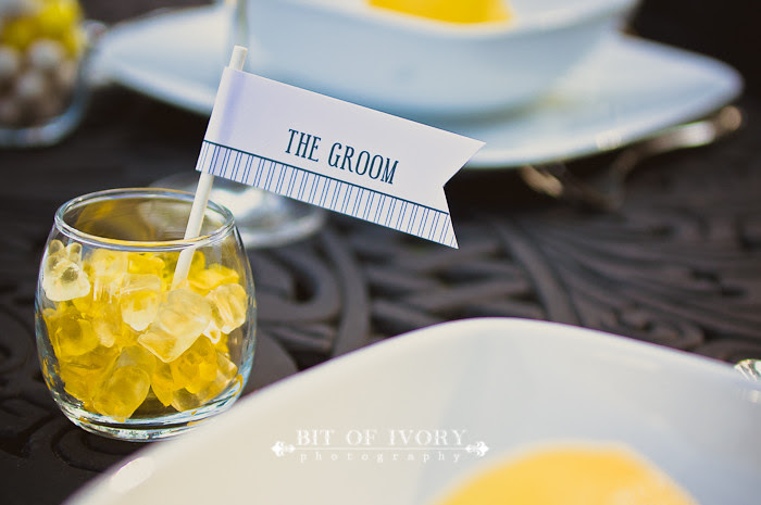 yellow and gray candy stationery wedding flags