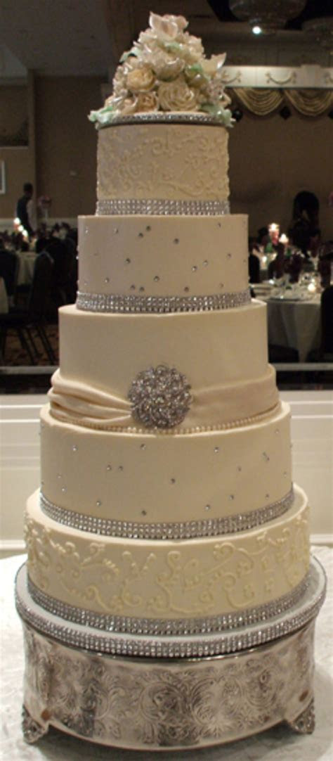 5 Tier Ivory Buttercream Wedding Cake With Diamonds And